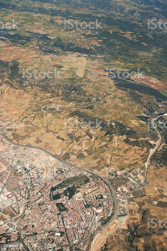 Aerial view - small city royalty-free stock photo
