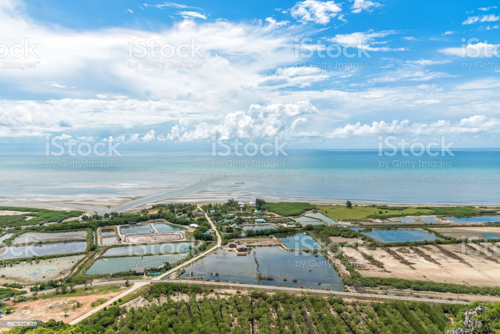 Aerial view Small village near the beach at Khao Sam Roi Yot National Park. stock photo