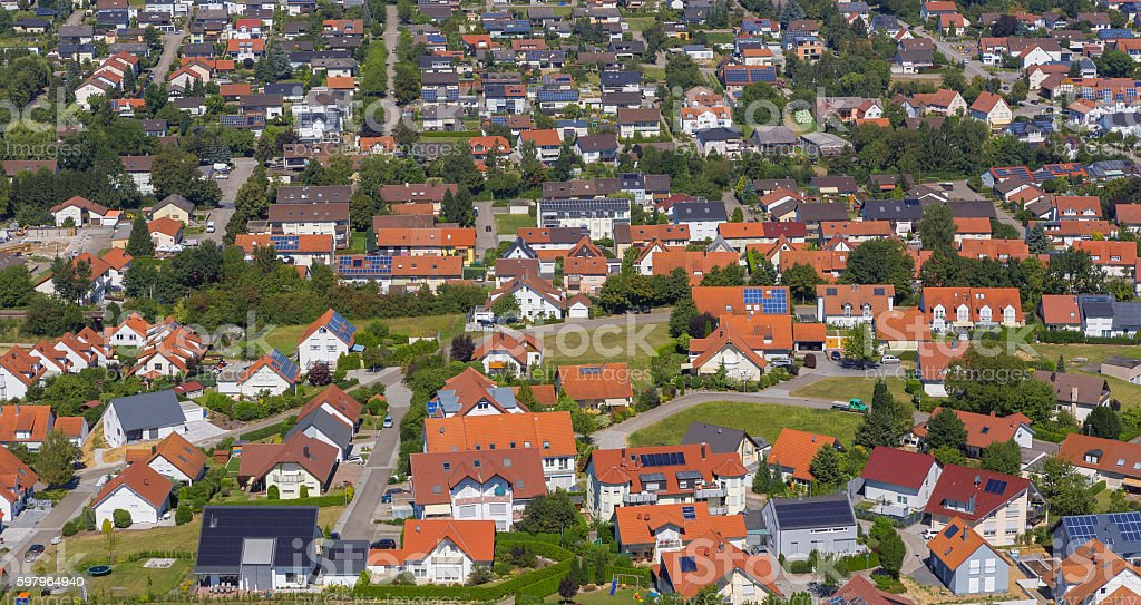 Aerial view small village of Gemmingen in Germany stock photo