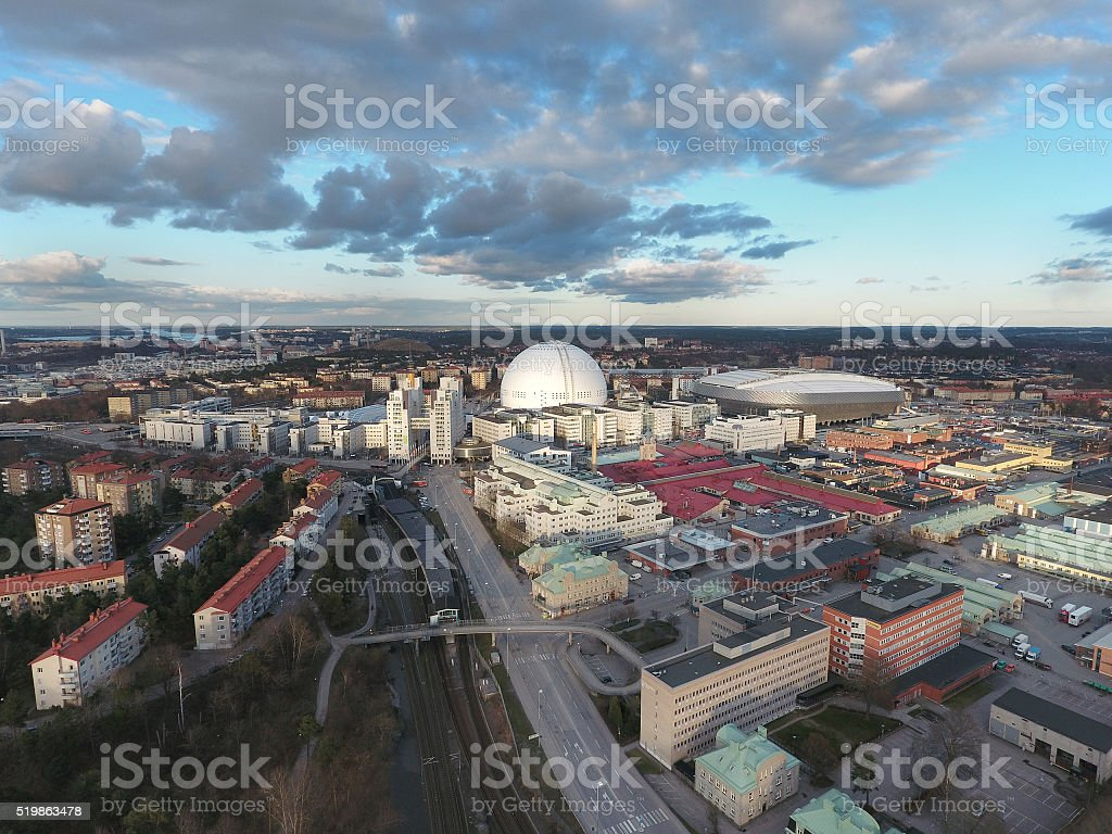 Aerial View Stockholm Globe Arena stock photo