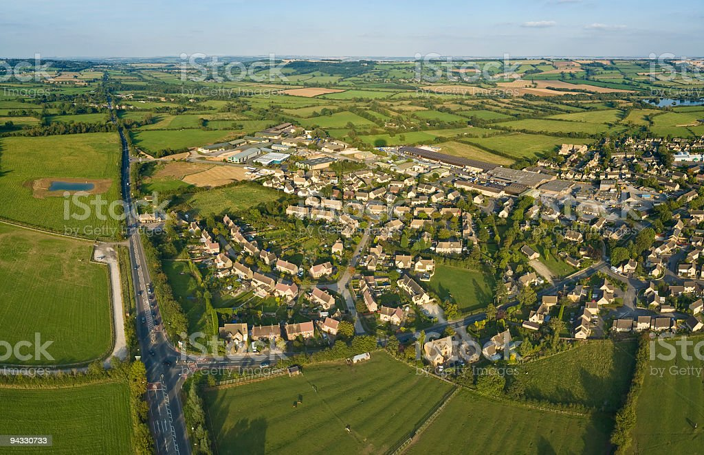 Aerial view, suburb, exurb, country stock photo