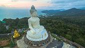 aerial view sweet sunset around Phuket's big Buddha
