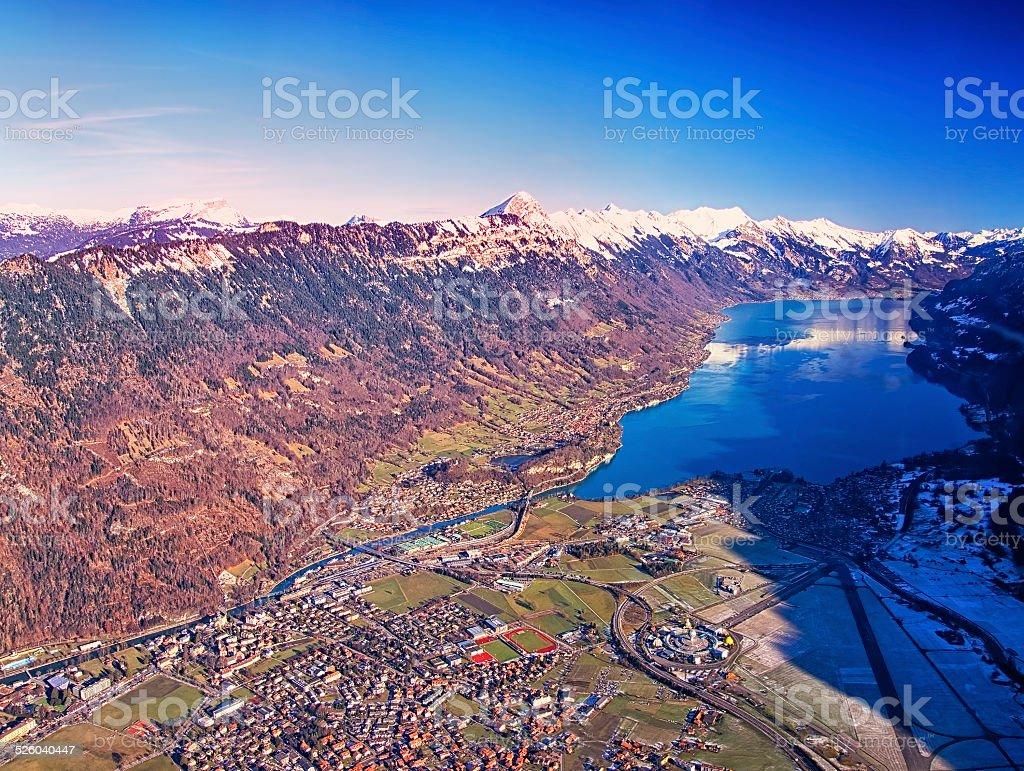 Aerial view Swiss city Interlaken stock photo