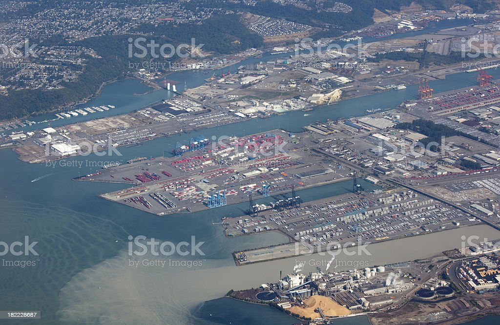 Aerial View Tacoma Washington USA, pollution and environmental damage stock photo