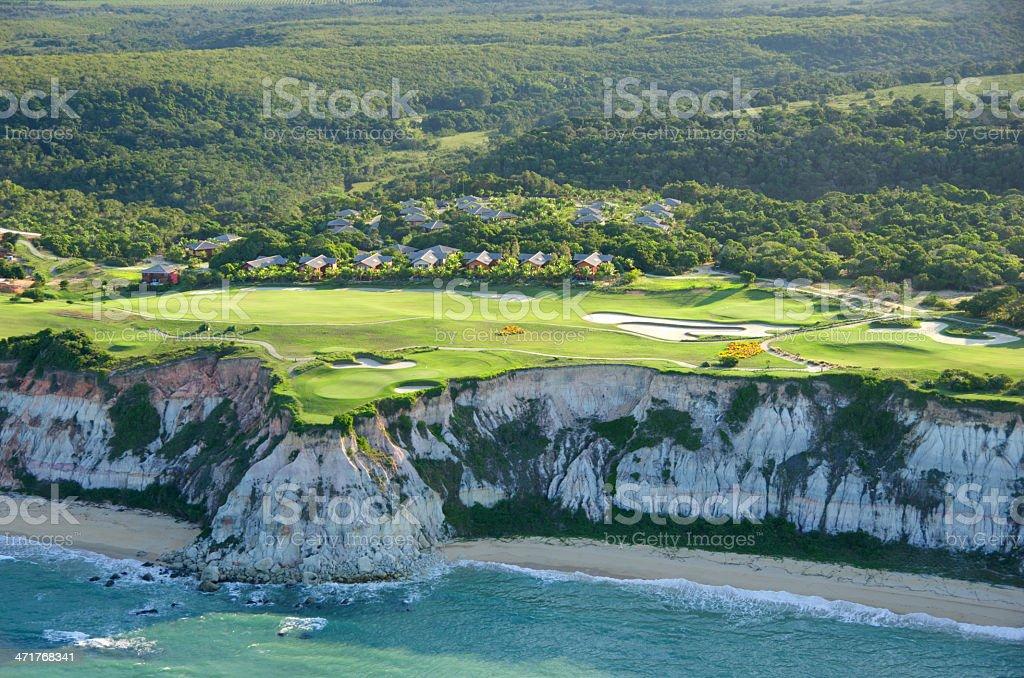 Aerial view Terravista Golf Resort Trancoso Bahia Brazil stock photo