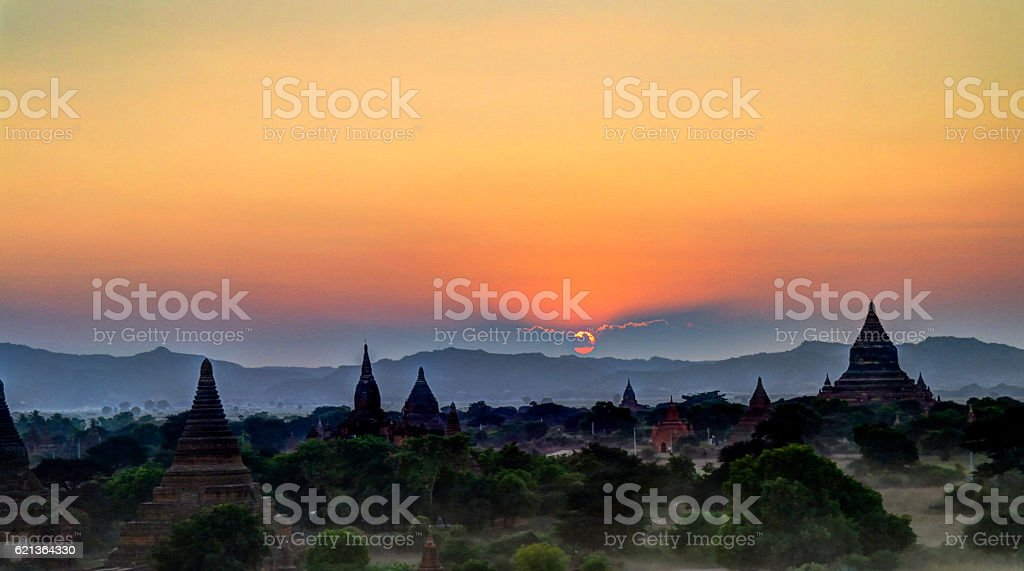 Aerial view to Bagan at sunset Myanmar stock photo