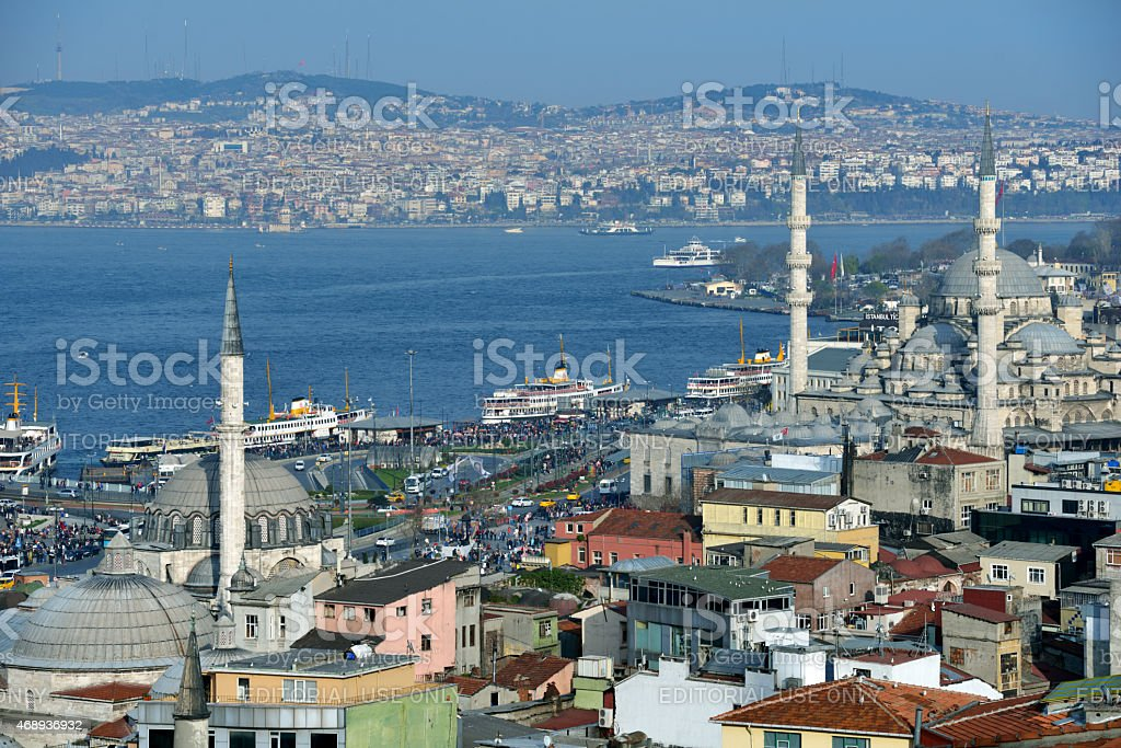 Aerial view to Bosporus strait in Istanbul, Turkey stock photo