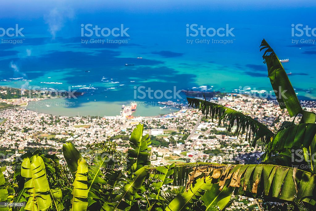 Aerial view to Caribbean town. Puerto Plata, Dominican Rep. stock photo