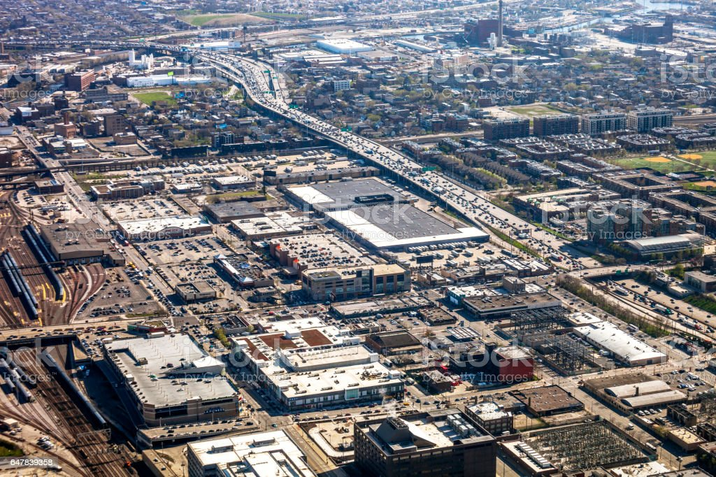 Aerial view to Chicago. stock photo