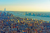 Aerial view to Downtown and Lower Manhattan