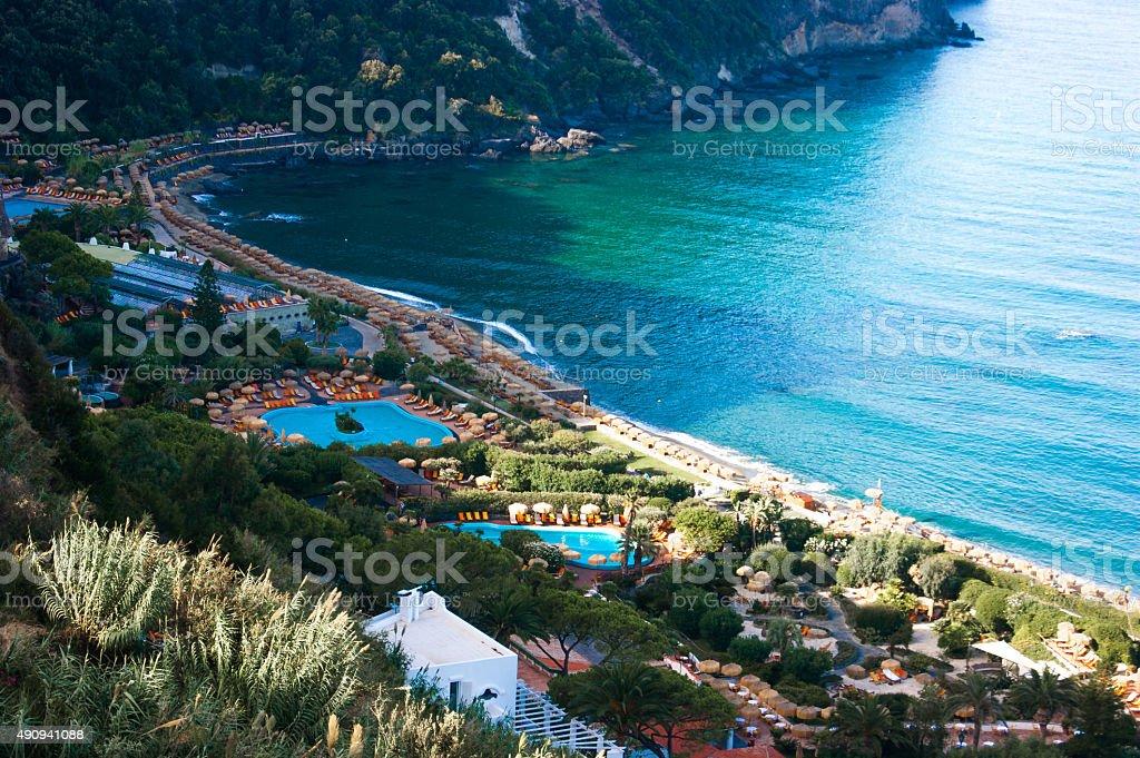 Aerial view to Giardini Poseidon Terme, Ischia, Italy stock photo