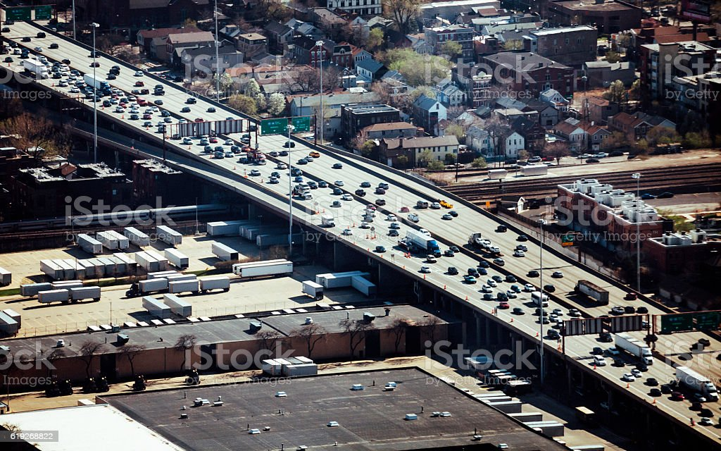 Aerial view to highway in Chicago. stock photo