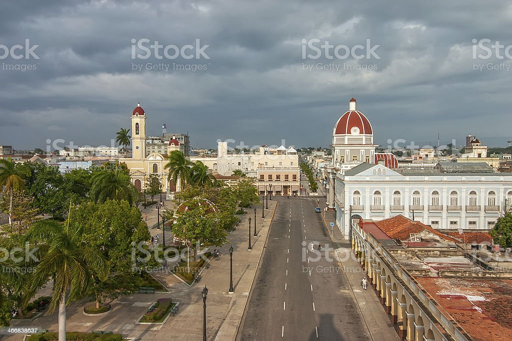 Aerial view to Jose Marti park stock photo