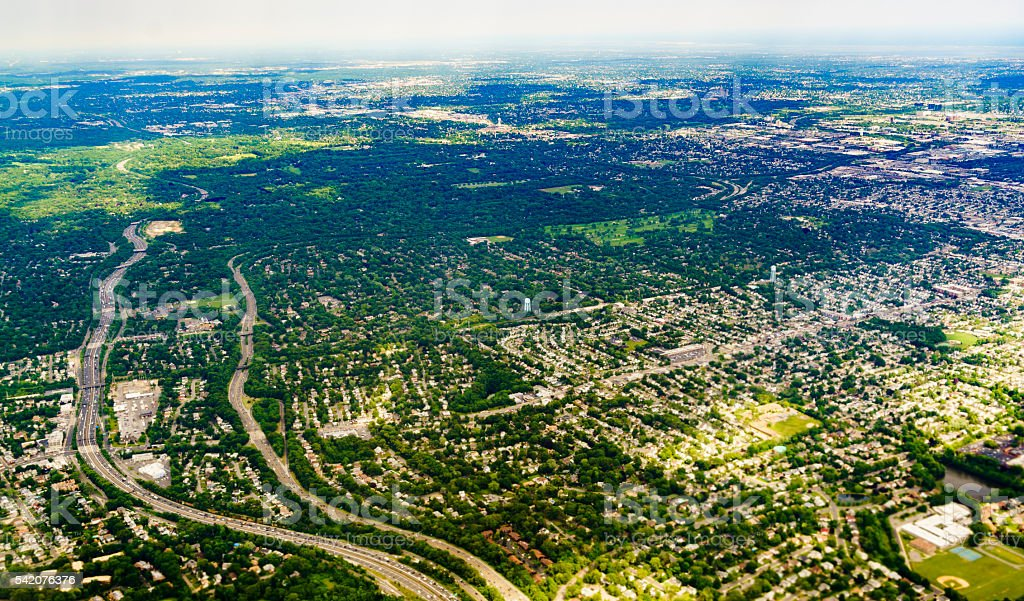 Aerial view to Long Island, New York State, USA stock photo