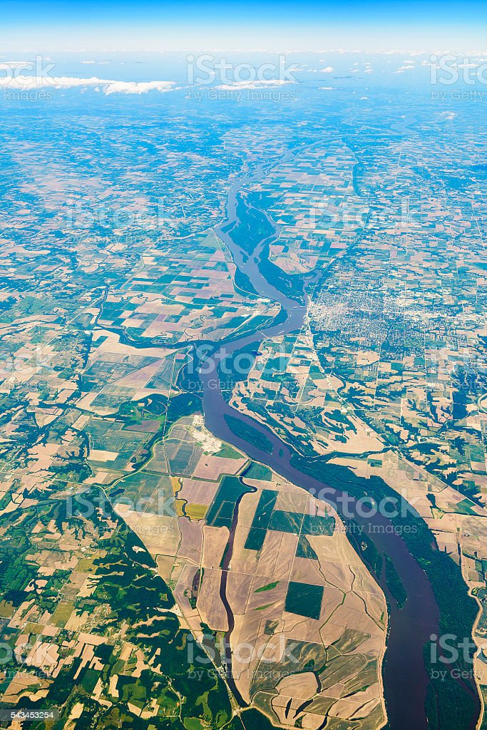 Aerial view to Mississippi River and Quincy, Illinois - Missouri. stock photo