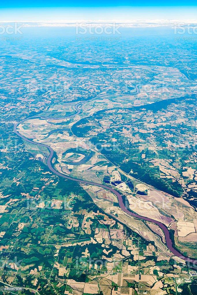 Aerial view to Missouri River nearby Kansas City, Missouri, USA. stock photo