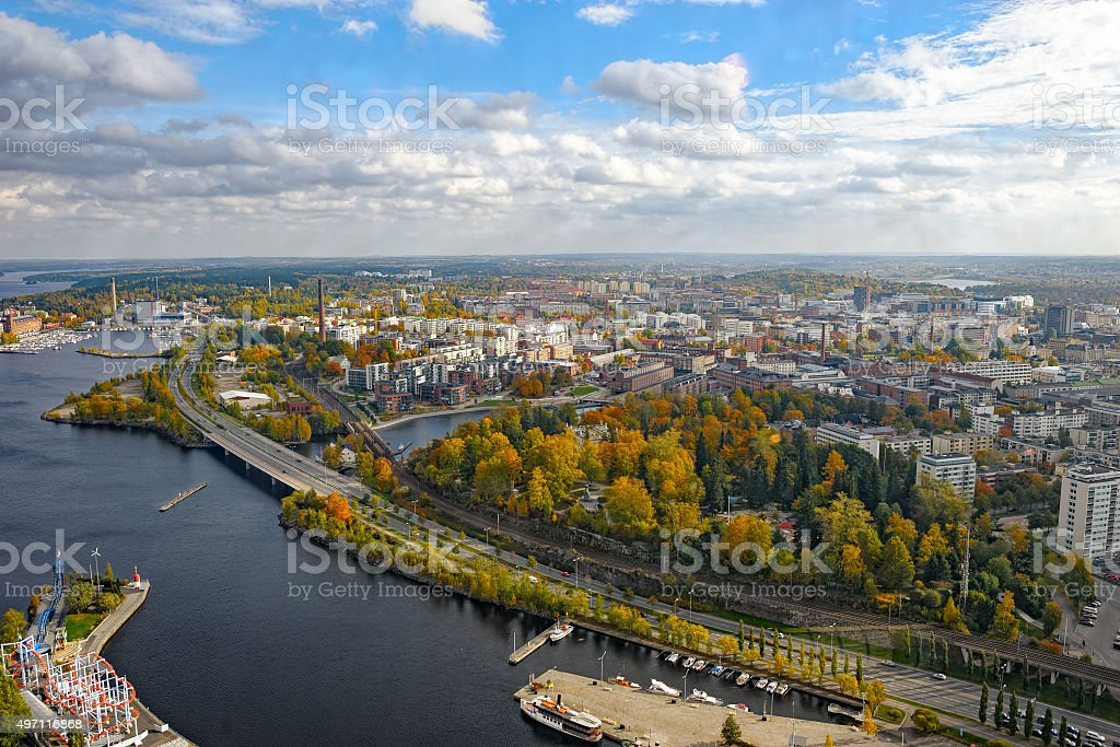 Aerial view to old town stock photo