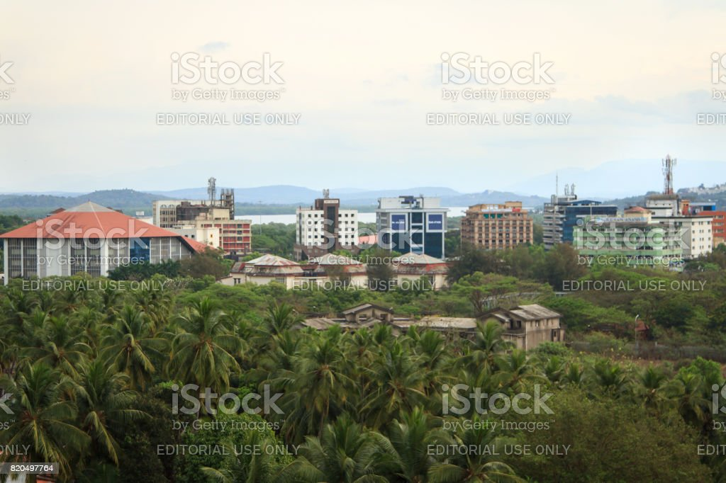 Aerial view to Panjim city - capital of Goa state stock photo