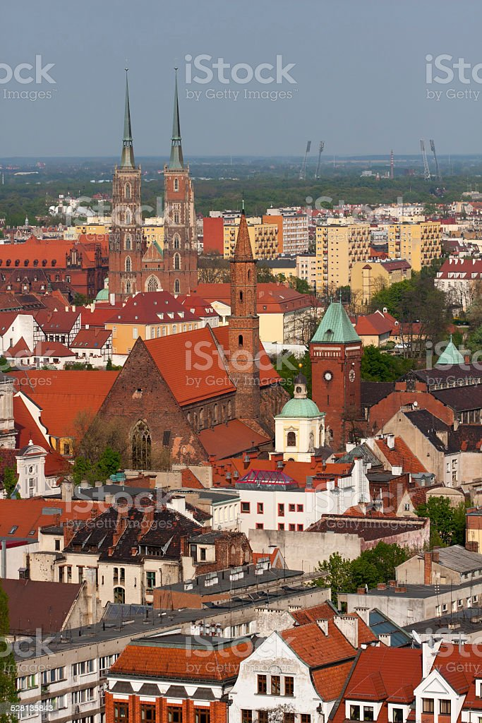 Aerial view to the architecture of Wroclaw, Poland. stock photo