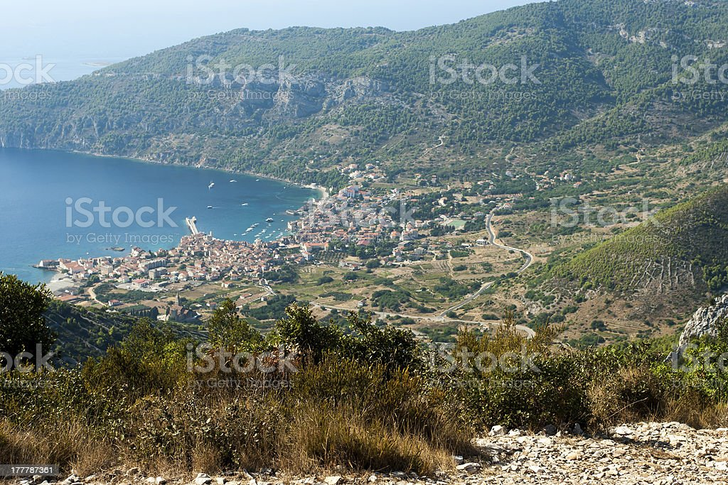 aerial view to the komiza town in Croatia royalty-free stock photo