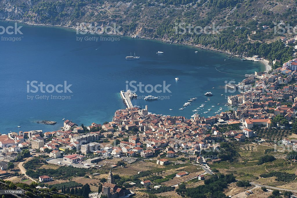 aerial view to the komiza town in Croatia royalty-free stock photo