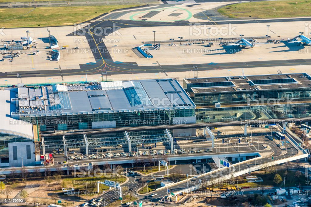 aerial view to the modern Terminal 2 in Frankfurt, Germany stock photo