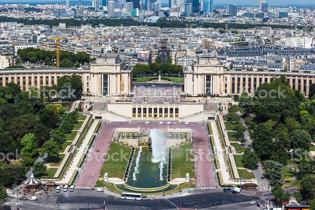 Aerial view to the Trocadero garden from Eiffel Tower stock photo