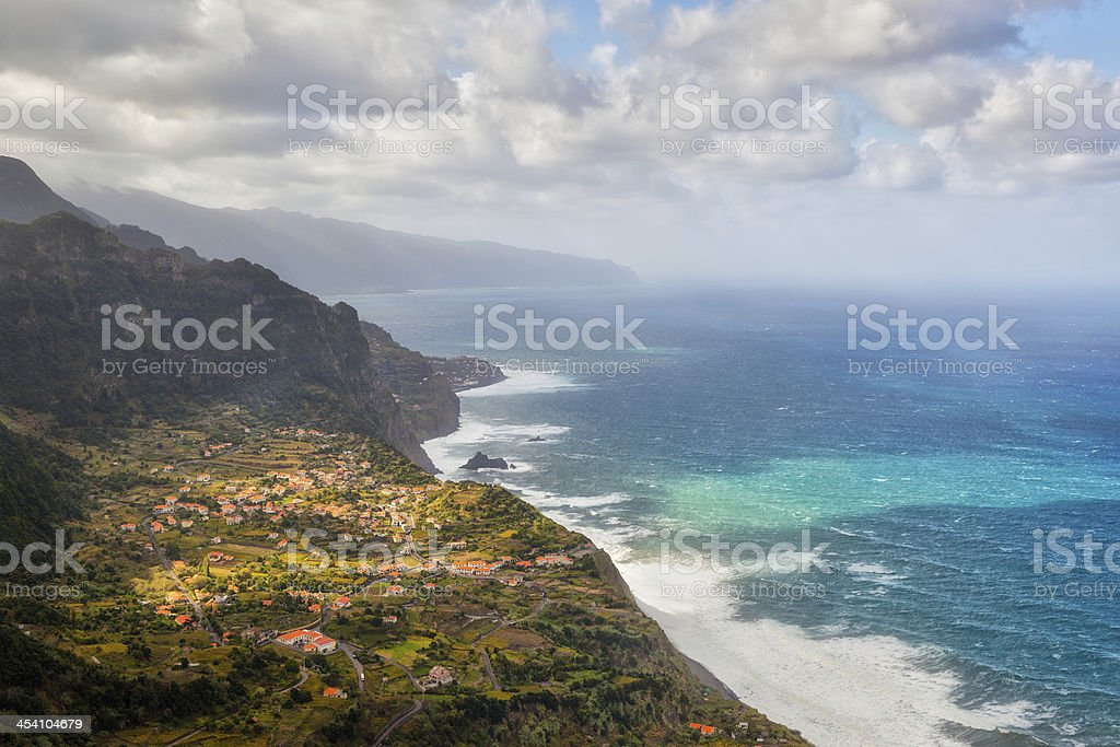 Aerial view to town at coast of Madeira, Portugal stock photo