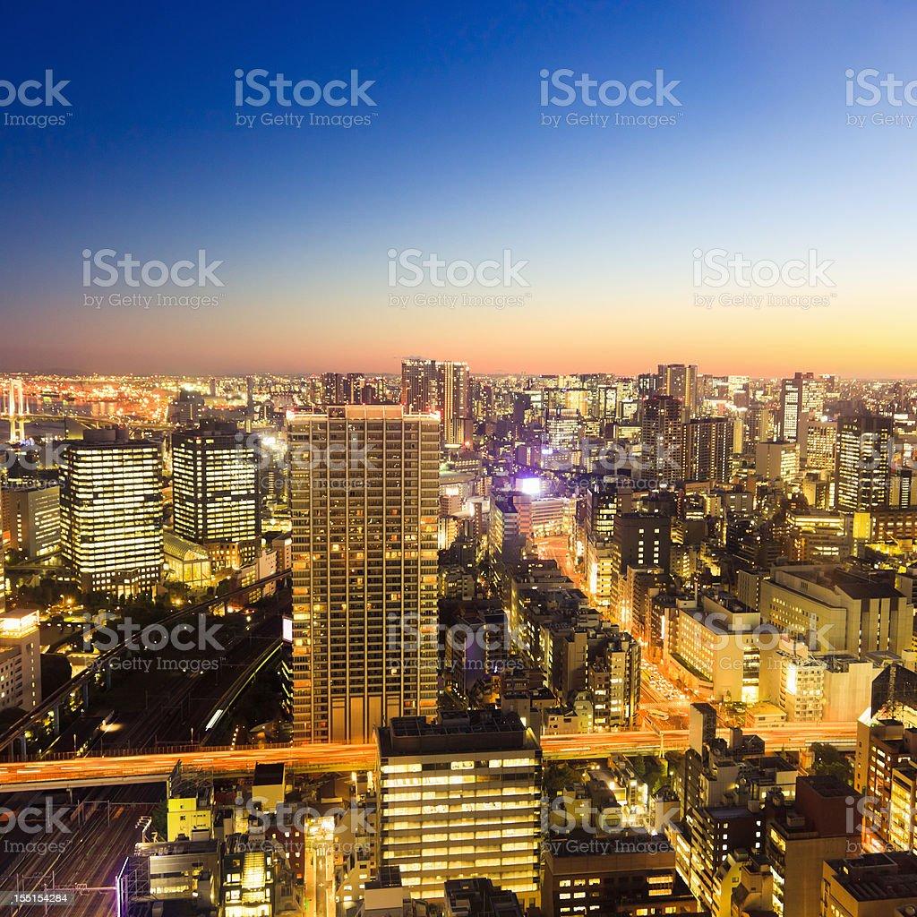 Aerial View Tokyo Sunset Night Scene Japan stock photo
