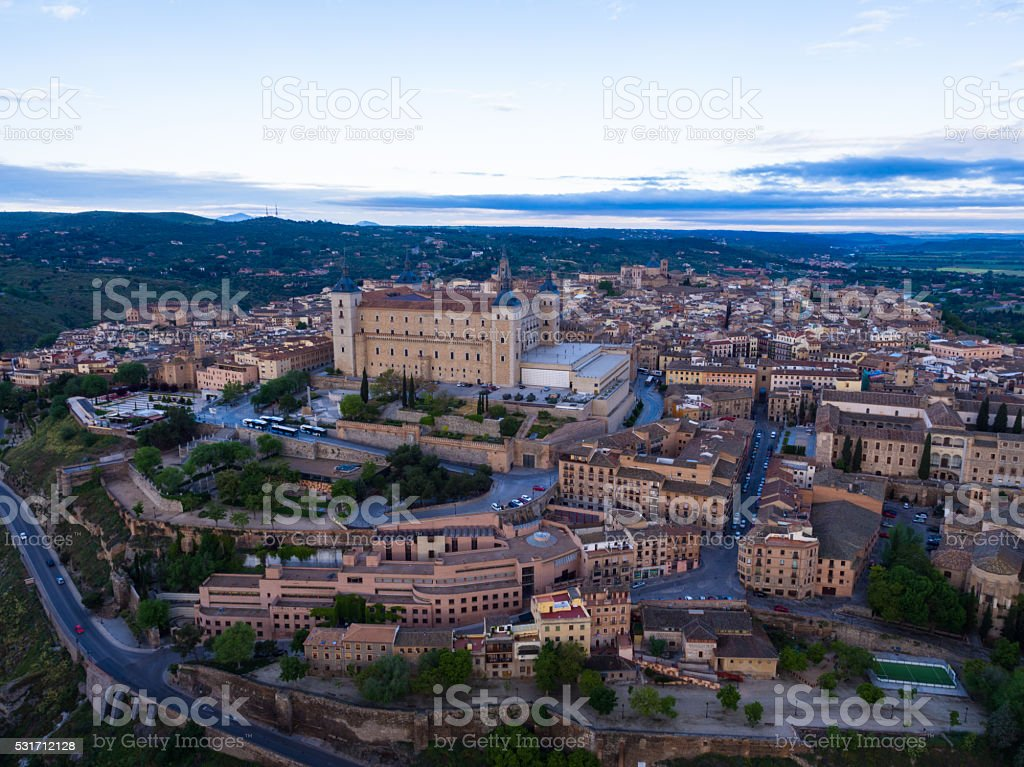 Aerial view Toledo in morning stock photo