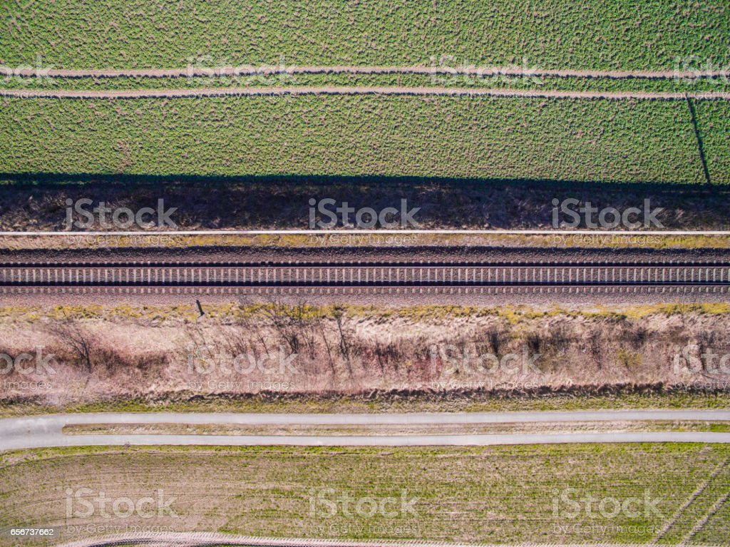 aerial view - top view of railroad tracks  in the countryside - germany stock photo