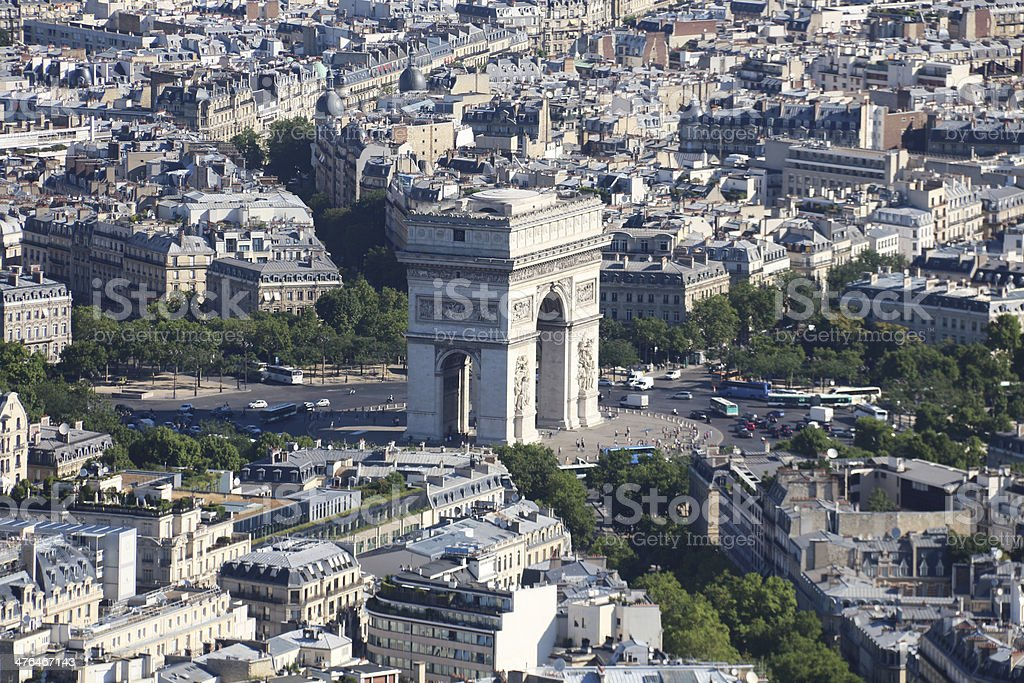 Aerial view toward Arc de Triomphe Paris France royalty-free stock photo