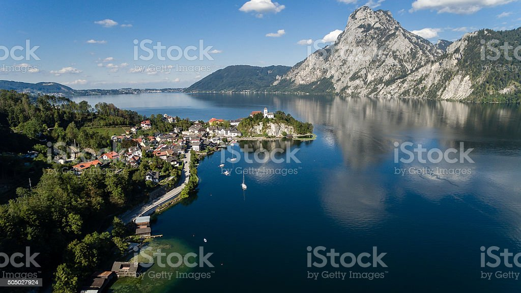 aerial view, Traunsee lake in Alps mountains, stock photo