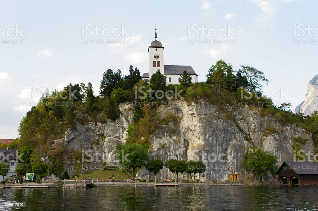 aerial view, Traunsee lake in Alps mountains, Upper Austria, sum stock photo