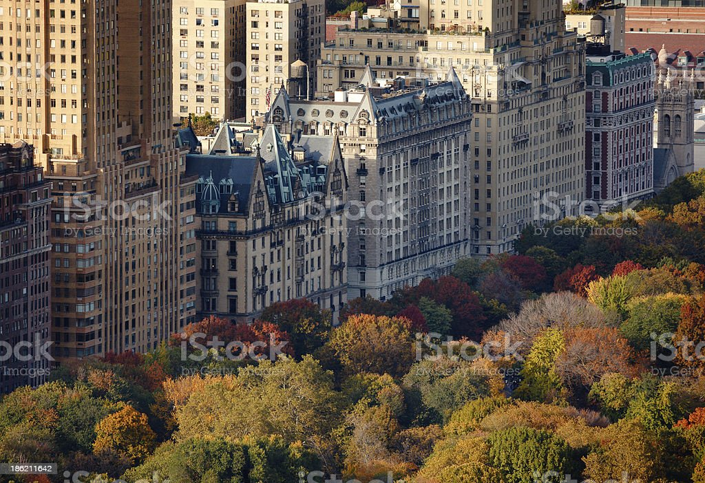 Aerial view Upper West Side buildings Central Park, New York stock photo