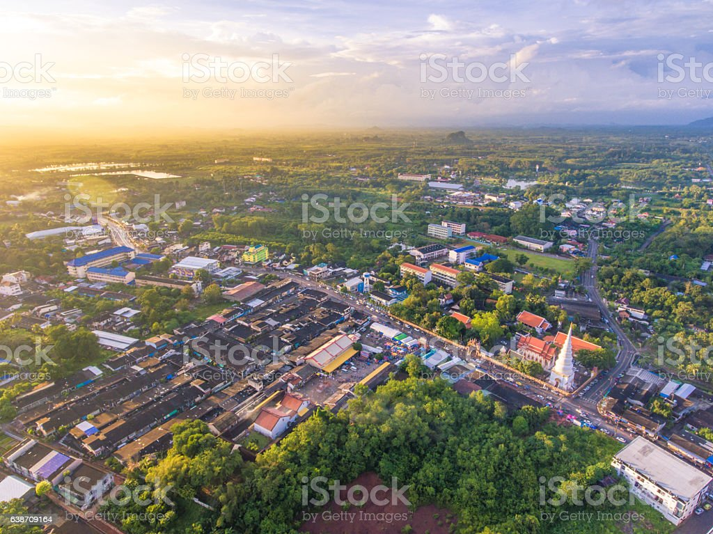Aerial view urban cityscape in south of Thailand Asia stock photo