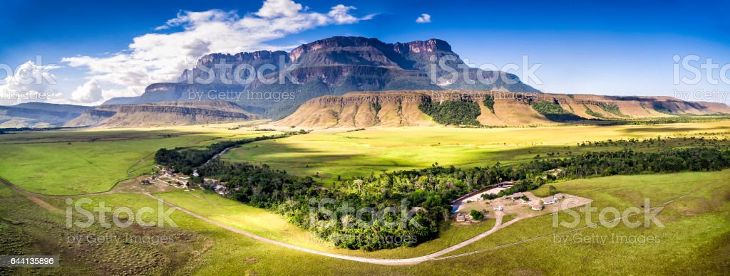 Aerial view Uruyen indigeous camp Auyantepui, La Gran Sabana, Venezuela stock photo