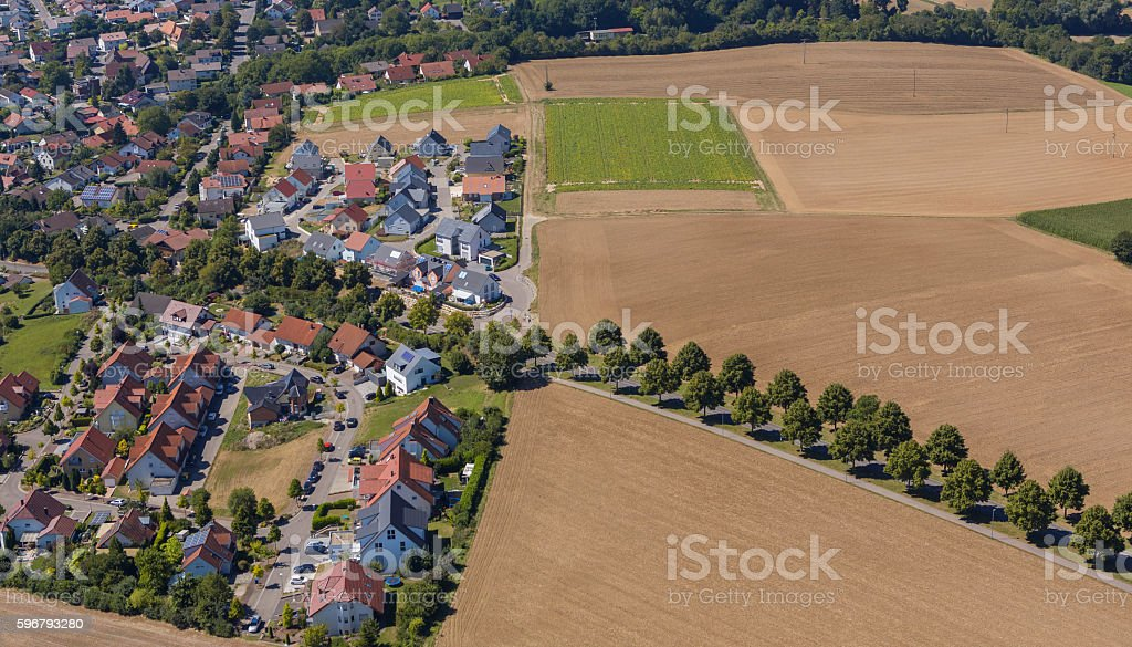 Aerial view village of Stebbach in Germany stock photo