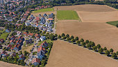 Aerial view village of Stebbach in Germany