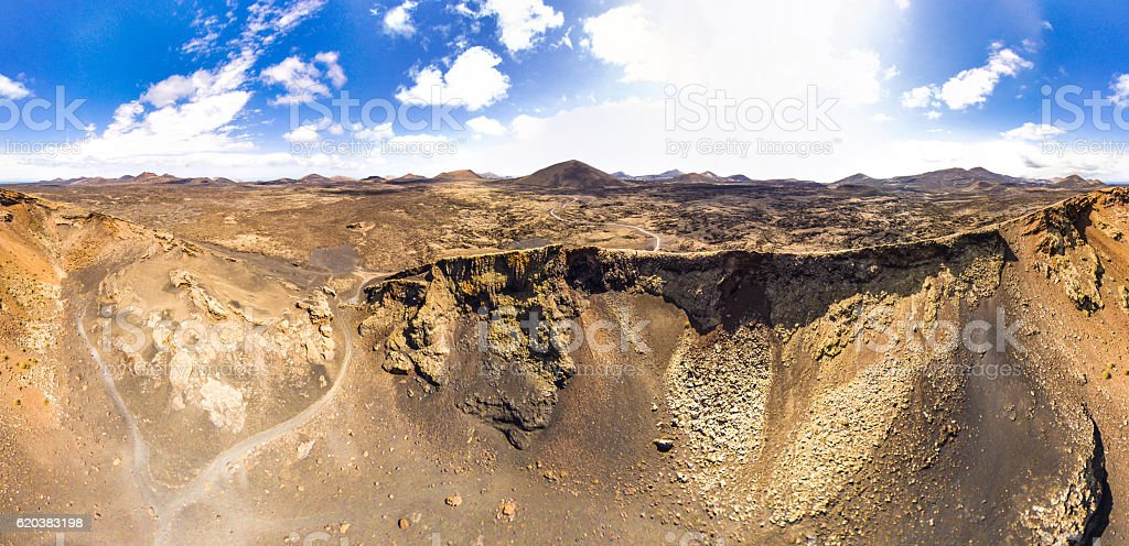 aerial view volcano volcan el cuervo lanzarote panoramic stock photo