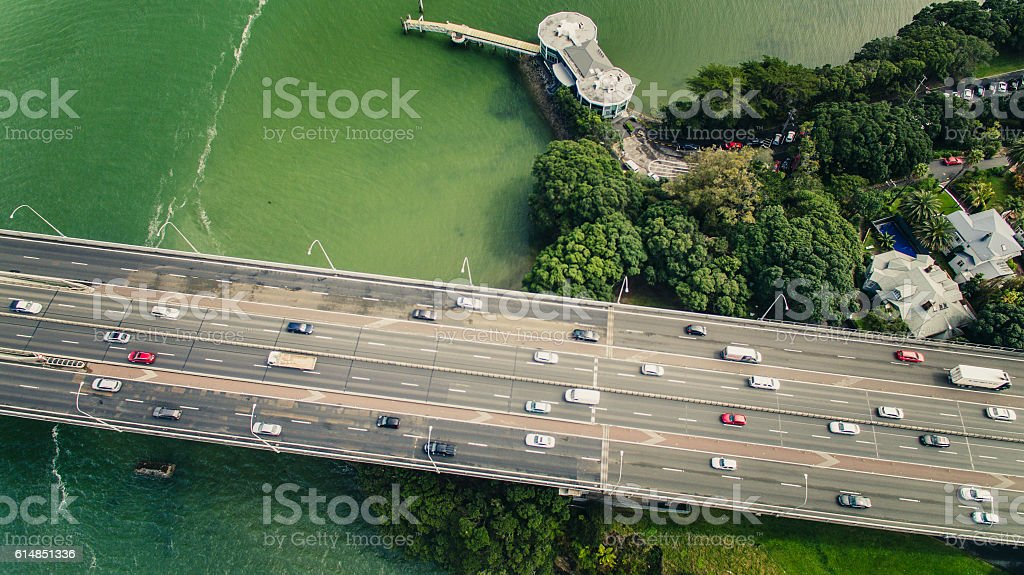 Aerial View Waitemata harbour. stock photo