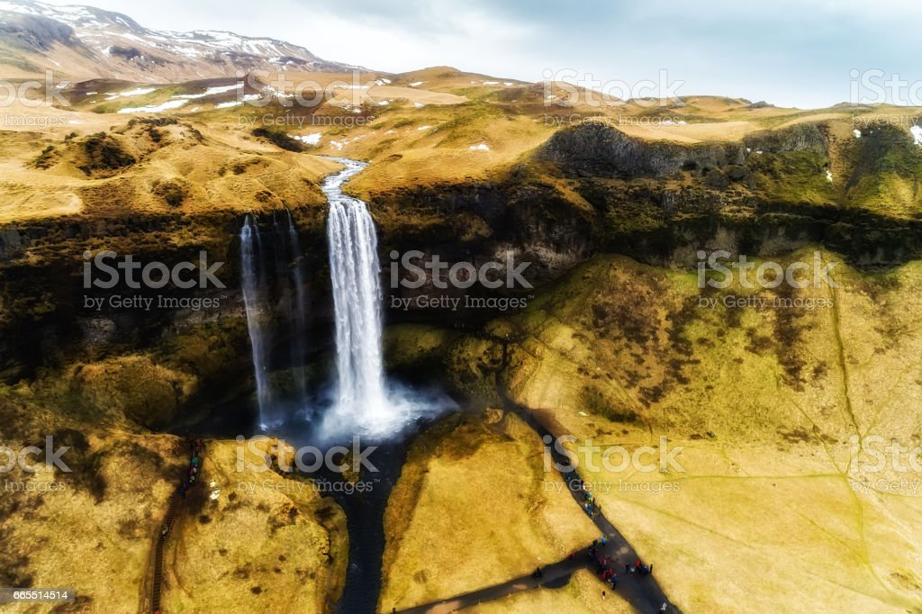 Aerial view waterfall Seljalandsfoss stock photo