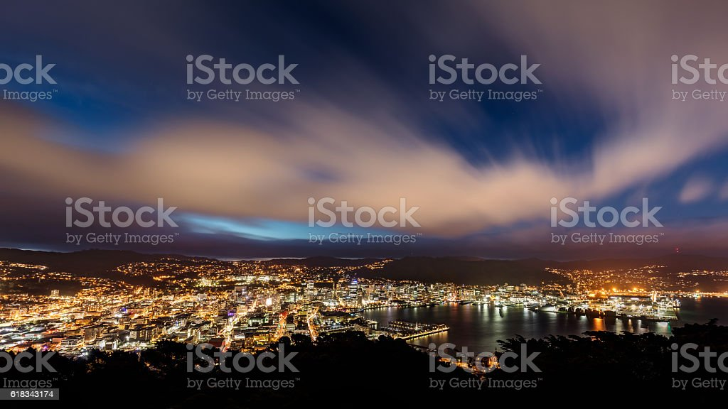 Aerial View Wellington City New Zealand at Night stock photo
