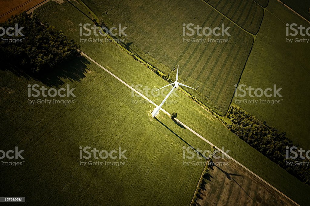 Aerial View, Wind Turbine Central Focus stock photo