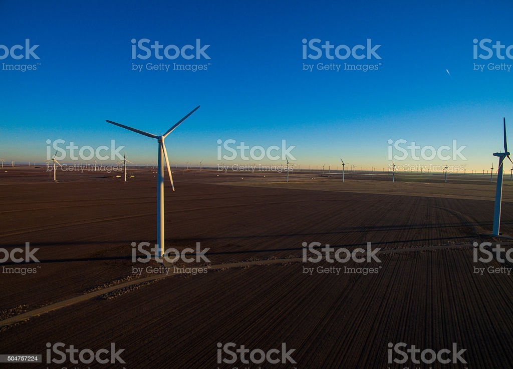 Aerial View Wind Turbine Farm West Texas Clean Energy stock photo