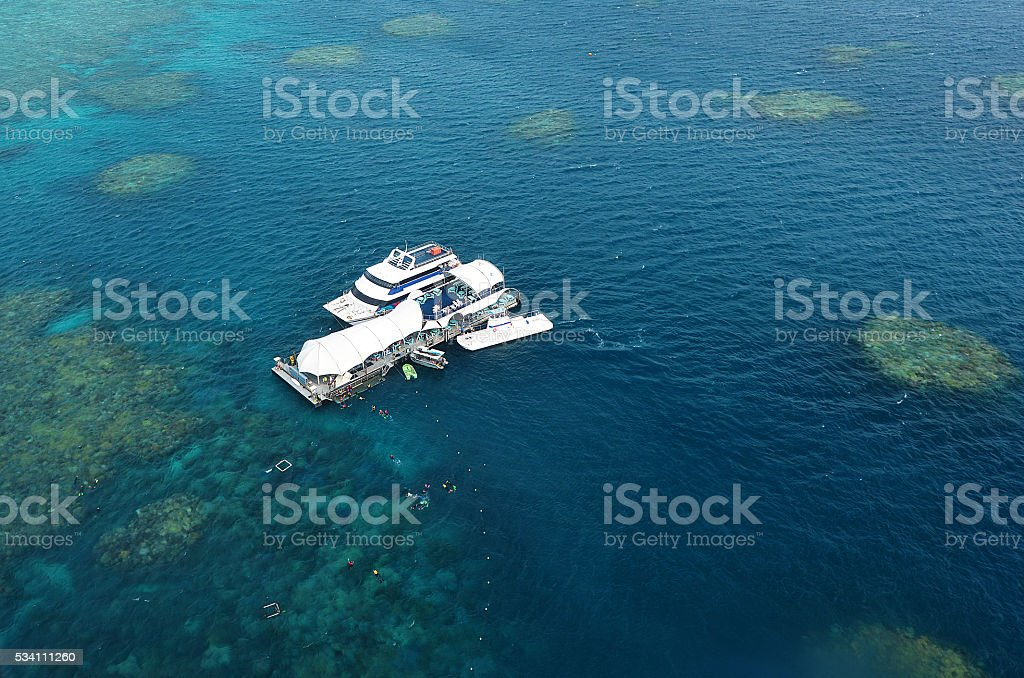 Aerial view with marine diving platform in Great Barrier Reef stock photo