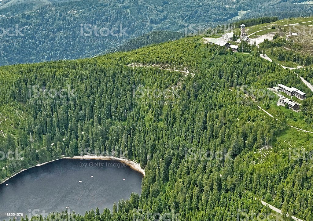 Aerial view with Mummelsee Hornisgrinde Tower stock photo