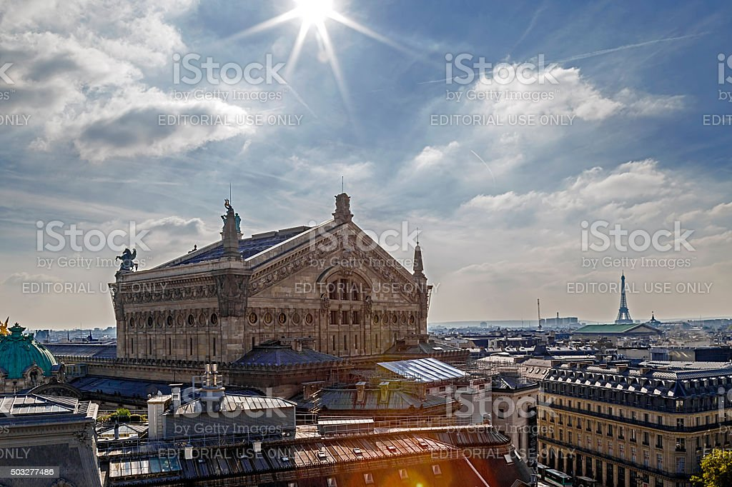 Aerial view with rooftop in Paris. Opera Garnier building stock photo