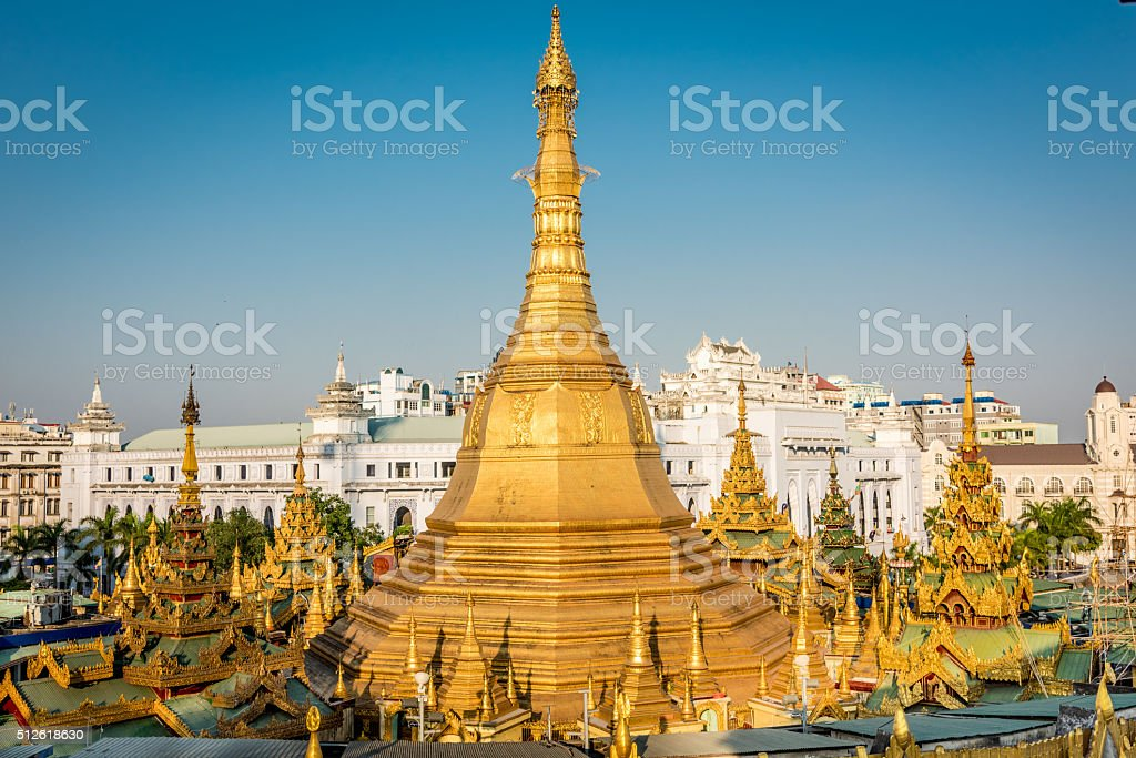 Aerial View Yangon Sule Pagoda Myanmar Burma stock photo