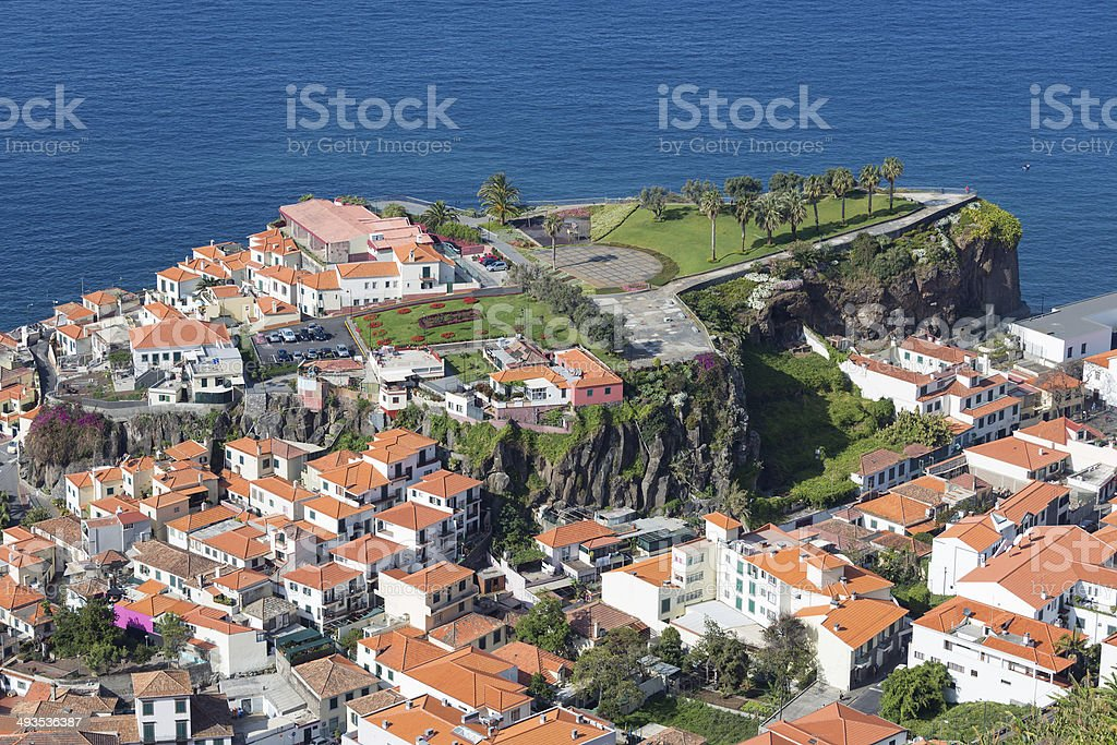 Aerial viewCamara do Lobos at Madeira, Portugal stock photo